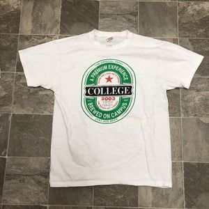Men's vintage college beer big logo t shirt sz L